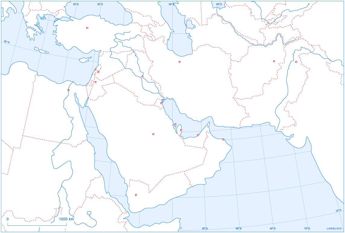 fond de carte moyen orient Un fond de carte du Proche et du Moyen Orient   Langlois