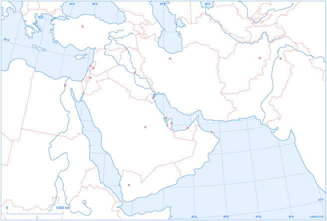 Un fond de carte en couleurs du Proche et du Moyen-Orient