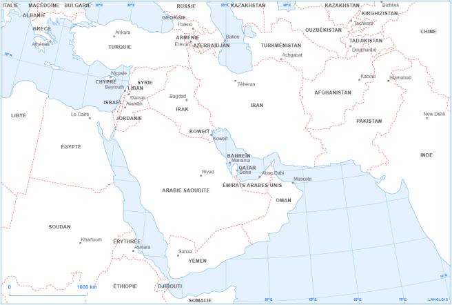Un fond de carte du Proche et du Moyen-Orient : localisation des États