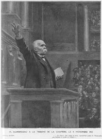 « M. Clemenceau à la tribune de la Chambre, le 11 novembre 1918 », L'Illustration, 16-23 novembre 1918