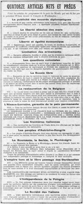 Quatorze articles nets et précis, Excelsior, 10 janvier 1918