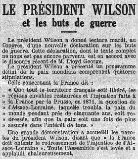 Le président Wilson et les buts de guerre, Le Temps, 10 janvier 1918
