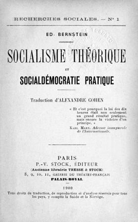 Eduard Bernstein, Socialisme théorique et social-démocratie pratique