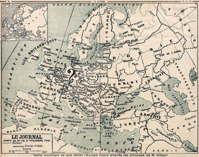 Carte montrant ce que serait l'Europe future d'après les principes de M. Wilson, Le Journal, 17 novembre 1918
