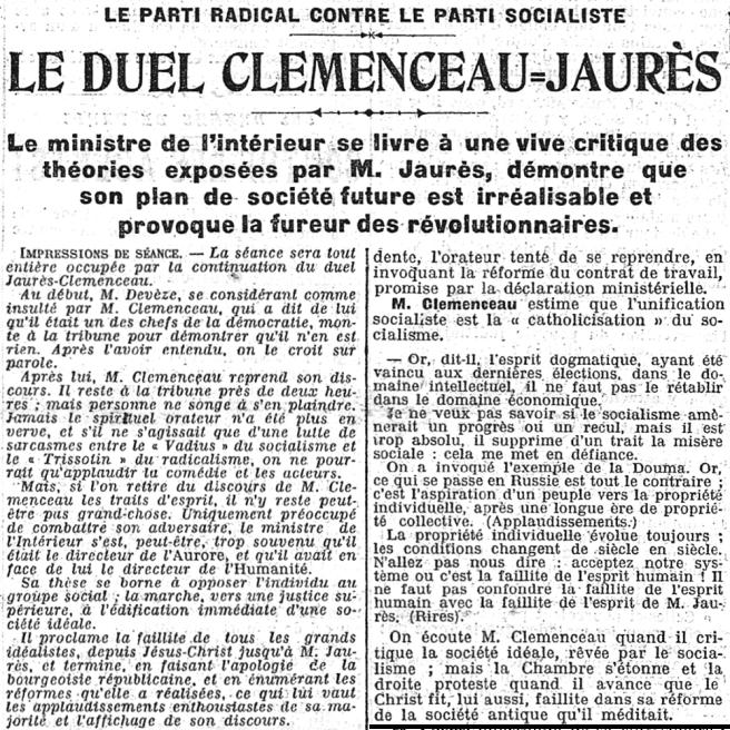 Le duel Clemenceau-Jaurès, La Presse, 20 juin 1906