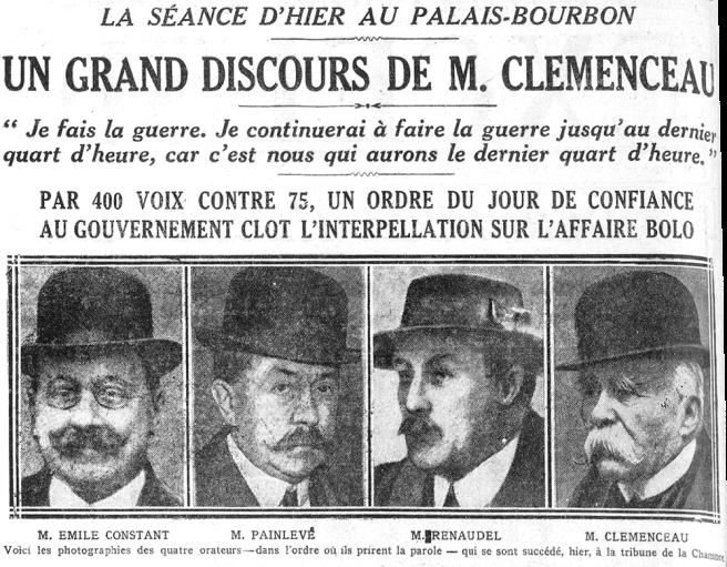 « Un grand discours de M. Clemenceau », Excelsior, 9 mars 1918