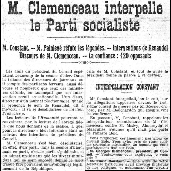 « M. Clemenceau interpelle le parti socialiste », L'Humanité, 9 mars 1918