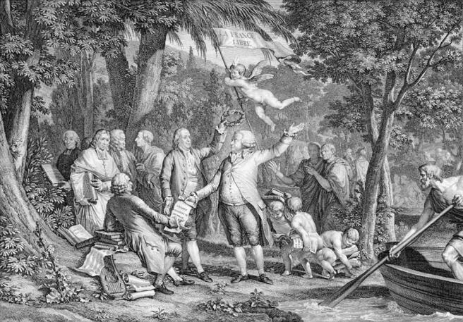 Mirabeau arrive aux champs Élisées, Paris, 1792