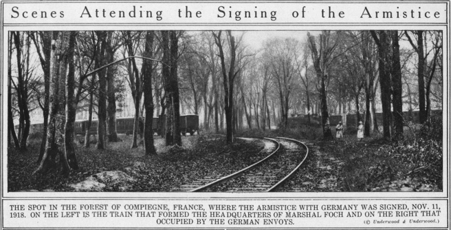 THE SPOT IN THE FOREST OF COMPIEGNE, FRANCE, WHERE THE ARMISTICE WITH GERMANY WAS SIGNED, NOV. 11, 1918