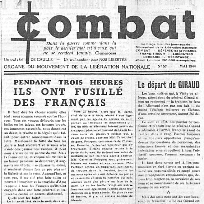 Albert Camus, « Pendant trois heures, ils ont fusillé des Français », Combat, mai 1944