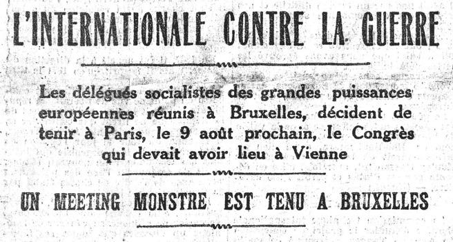 L'Internationale contre la guerre. L'Humanité du 30 juillet 1914