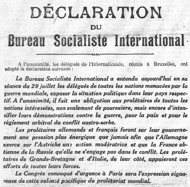 Déclaration du Bureau socialiste international. L'Humanité du 31 juillet 1914