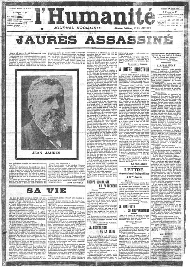 Jaurès assassiné. L'Humanité du 1er août 1914