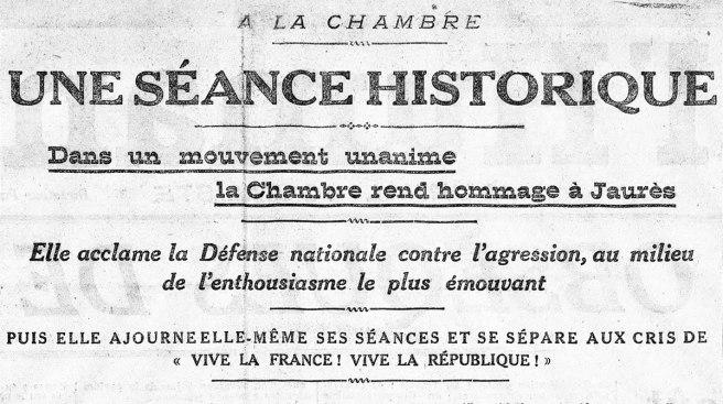Une séance unanime. L'Humanité du 5 août 1914