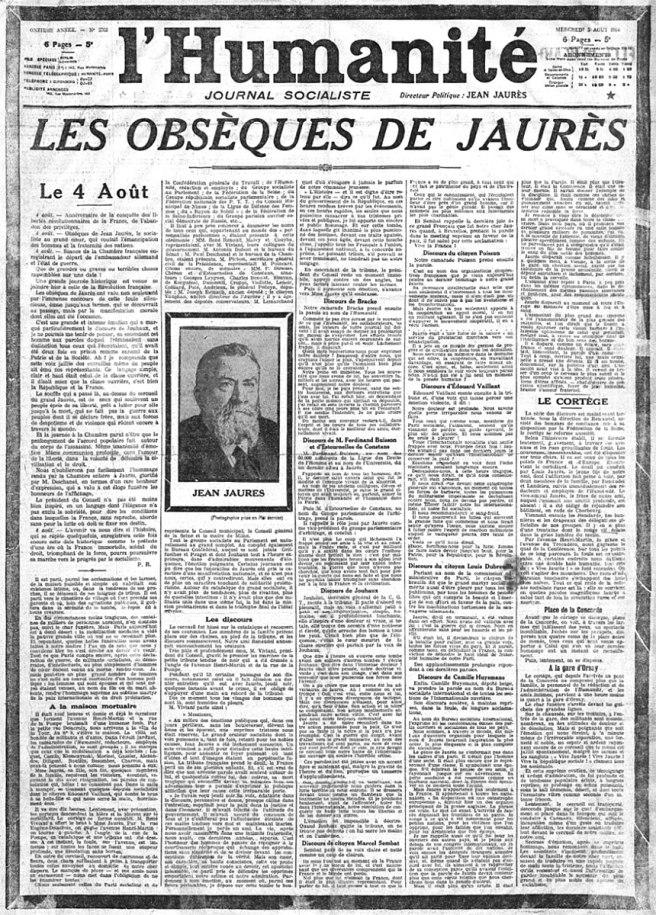 Les obsèques de Jaurès. L'Humanité du 5 août 1914