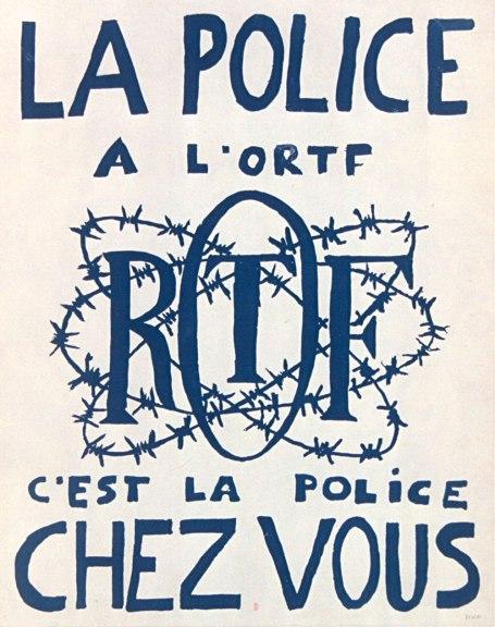 La police à l'ORTF, c'est la police chez vous. Affiche de l'École nationale supérieure des beaux-arts, 1968