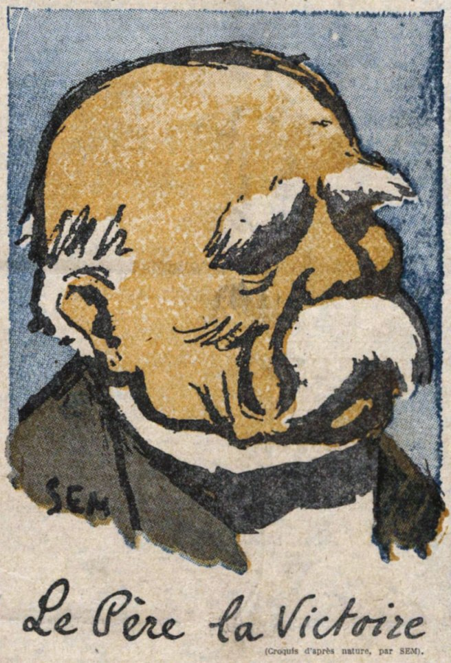 Le Père la Victoire. Croquis d'après nature par Sem. Le Journal, 6 octobre 1918