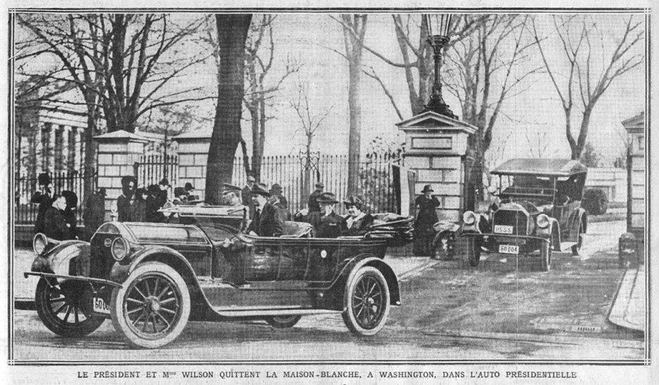 Le président et Mme Wilson quittent la Maison-Blanche, à Washington, dans l'auto présidentielle, Excelsior, 13 décembre 1918