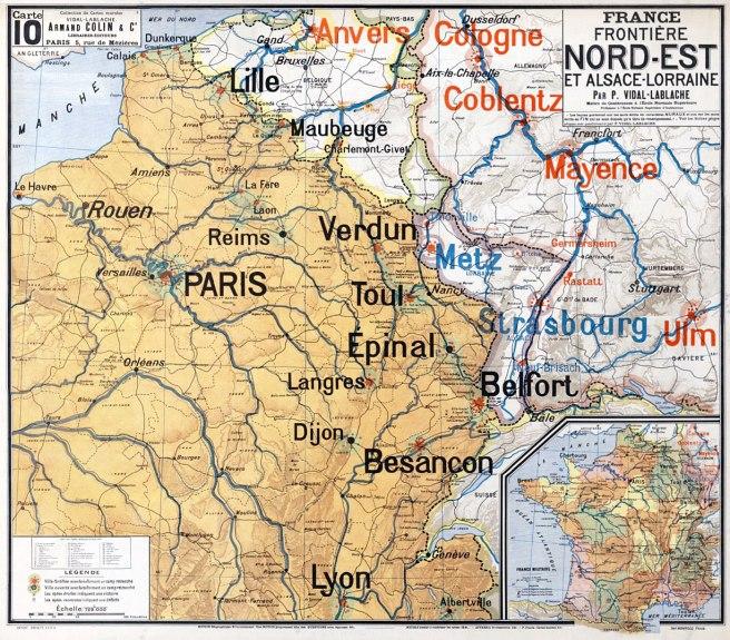 France. Frontière nord-est et Alsace-Lorraine