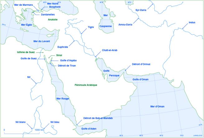 Un fond de carte du Proche et du Moyen-Orient : localisations des mers, fleuves, détroits, isthmes, golfes et péninsules